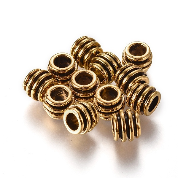PandaHall Alloy European Style Beads, Lead Free, Column, Antique Golden Color, Size: about 8mm in diameter, 6mm thick, hole: 4mm
