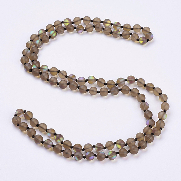 "PandaHall_Synthetic_Moonstone_Beaded_Multi-use_Necklaces_Wrap_Bracelets,_Three-Four_Loops_Bracelets,_Round,_Camel,_36.2""(92cm)_Moonstone..."