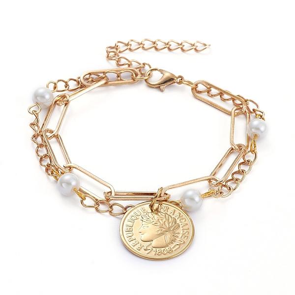 Coin Detail Metal Gold Leg Chain
