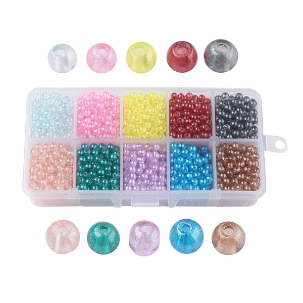PandaHall 10 Colors Transparent Spray Painted Glass Beads, Round, Mixed Color, 4mm, Hole: 1.1~1.3mm; about 200~205pcs/comparment...