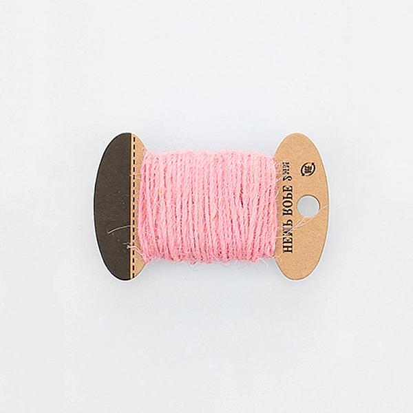 PandaHall Hemp Cord, Hemp String, Hemp Twine, 3 Ply, for Jewelry Making, Pink, 2mm; 10m/board Jute Pink