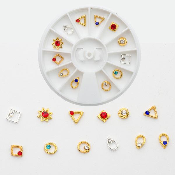 PandaHall Alloy Rhinestone Cabochons, Nail Art Decoration Accessories, Mixed Shapes, Mixed Color, Box: 6x0.5cm; 12pcs/box Alloy+Rhinestone...