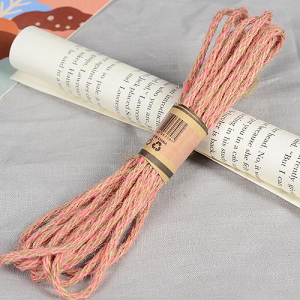 PandaHall Hemp Cord Twine String, 3 Ply, for Jewelry Making, LightSalmon, 4mm; 10m/bundle Hemp Red