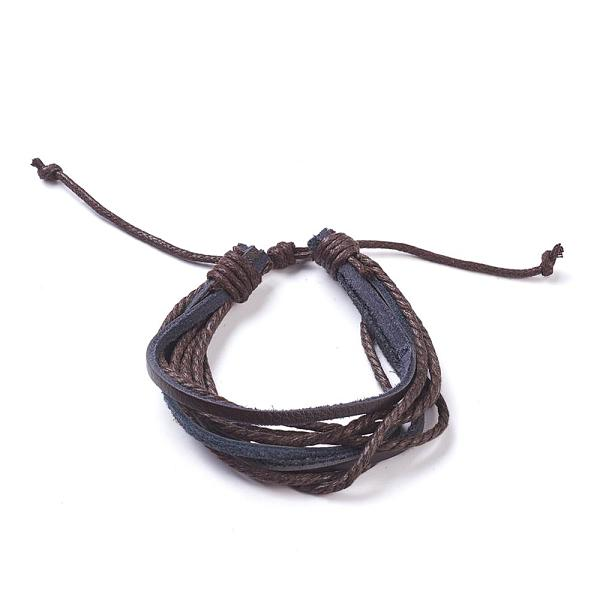 PandaHall Leather Multi-strand Bracelets, with Hemp Rope, SaddleBrown, 190~260mm(7-1/2