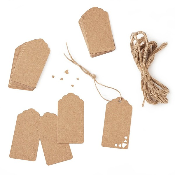PandaHall Jewelry Display Kraft Paper Price Tags, with Hemp Cord, Hemp String, Hemp Twine, BurlyWood, 9x4.5x0.03cm; about 100pcs