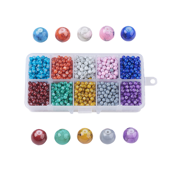 PandaHall Drawbench Glass Beads, Round, Mixed Color, 4~5x4mm, Hole: 1mm; about 215~220pcs/comparment, 2150~2200pcs/box; packaging box...