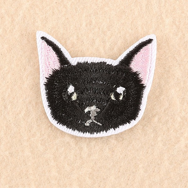 PandaHall Computerized Embroidery Cloth Iron/Sew On Patches, Costume Accessories, Appliques, Cat, Black, 3.5x4cm Cloth Cat Black