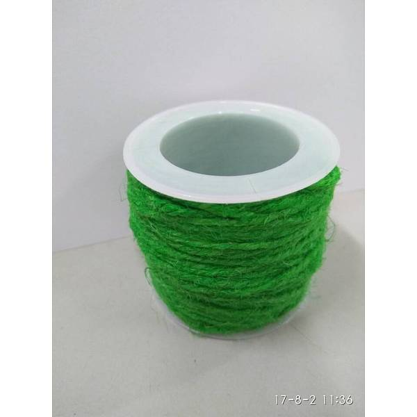 PandaHall Hemp Cord, Hemp String, Hemp Twine, for Jewelry Making, Green, 2mm; 10m/roll Burlap Green