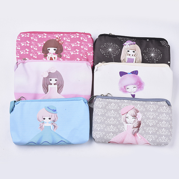 PandaHall PVC Clutch Bags, Change Purse, with Handle and Girl Pattern, Mixed Color, 180x102x18mm Plastic Multicolor (ABAG-S005-21A 1834038) photo