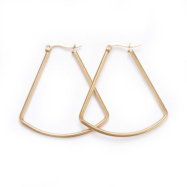 PandaHall Simple Fashion 304 Stainless Steel Hoop Earrings, Geometrical, Fan Shape, Golden, 43~44x40x2mm: Pin: 0.7x1mm Stainless Steel