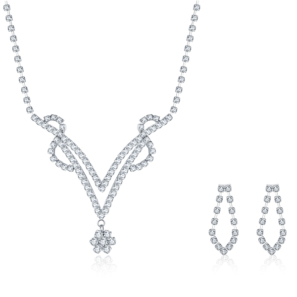 Silver Rhinestone Embellished Chain Tassel Earrings