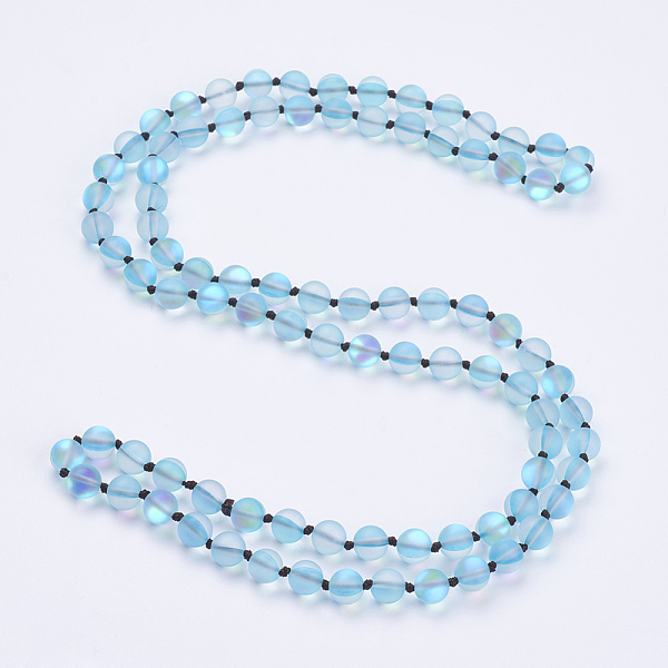 "PandaHall_Synthetic_Moonstone_Beaded_Multi-use_Necklaces_Wrap_Bracelets,_Three-Four_Loops_Bracelets,_Round,_DarkTurquoise,_36.2""(92cm)..."