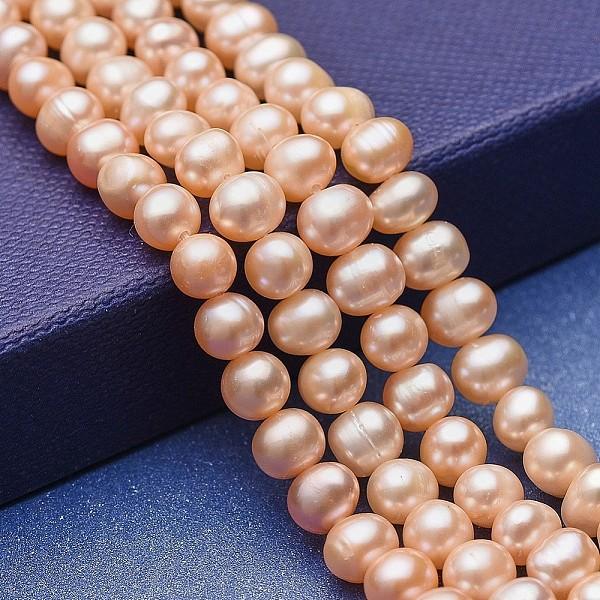 PandaHall Natural Pearl Beads Strands, Potato, Bisque, 5.5~7x5~6mm, Hole: 0.6mm; about 66pcs/strand, 14.17''(36cm) Pearl Potato Orange
