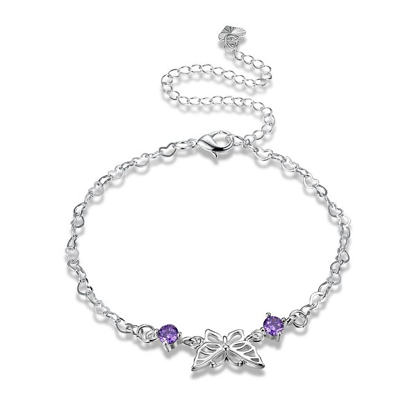 PandaHall Trendy Brass Anklets, Heart Link Chain with Butterfly, Silver, 7-7/8 inches(200mm) Brass