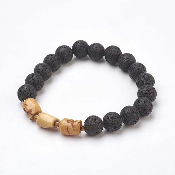 PandaHall Natural Lava Beads Stretch Bracelets, with OX Bone Beads, Skull, 2-3/8