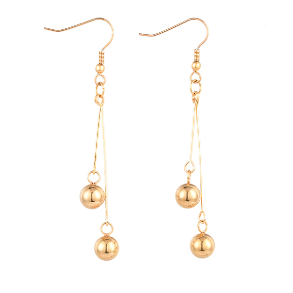 PandaHall 304 Stainless Steel Dangle Earring, with Brass Eye Pins, Round, Golden, 70mm, Pin: 0.6mm Brass