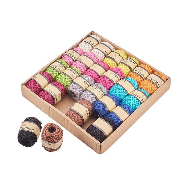 PandaHall Hemp Cord, Hemp String, Hemp Twine, Fixed Color, 2mm; 10m/roll; 12color/box, 2roll/color Burlap Multicolor