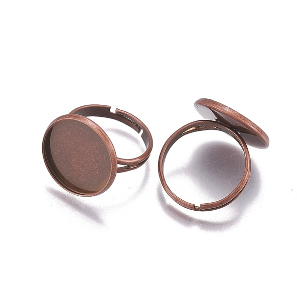 PandaHall Adjustable Brass Finger Rings Components, Pad Ring Base Findings, Flat Round, Red Copper, Tray: 16mm; 17mm Brass