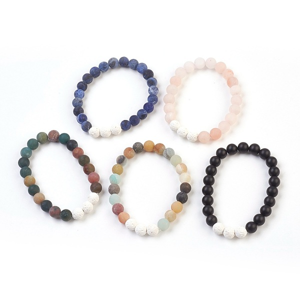 PandaHall Natural Gemstone and Natural Dyed Lava Stretch Bracelets Sets, Frosted, Round, 2-1/8