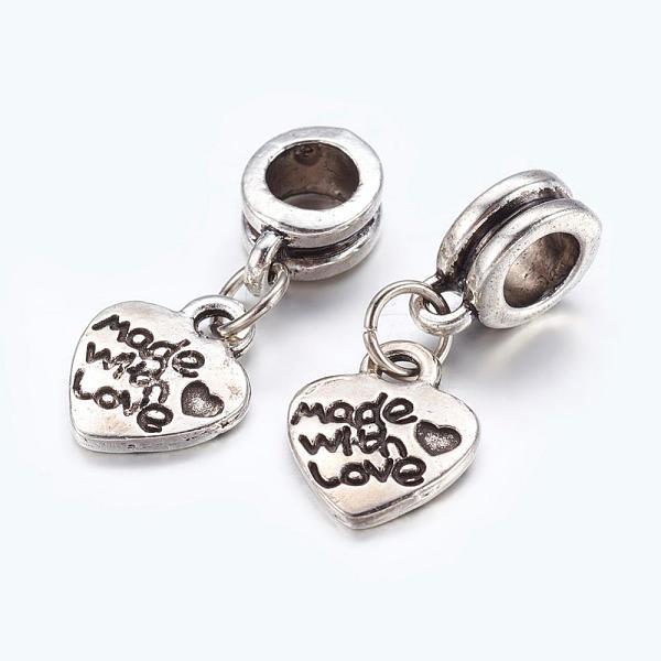 PandaHall Alloy European Dangle Beads, Heart, Antique Silver, 22mm, Hole: 5mm Alloy Heart