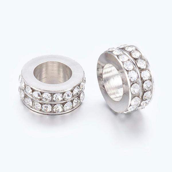 PandaHall Large Hole Beads, European Brass Rhinestone Beads, Platinum, Rondelle, Clear, Platinum, 11x5mm, Hole: 7.5mm Brass+Rhin