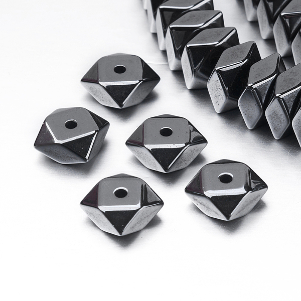 PandaHall Non-magnetic Synthetic Hematite Beads Strands, Faceted, Square, 8x8x4mm, Hole: 1mm; about 97pcs/strand, 15.1''(38.5cm)...