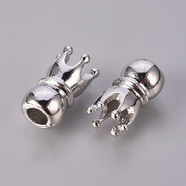 PandaHall Alloy European Beads, Lead Free and Nickel Free, Crown, Platinum, about 10mm wide, 18mm long, hole: 5mm Alloy Others