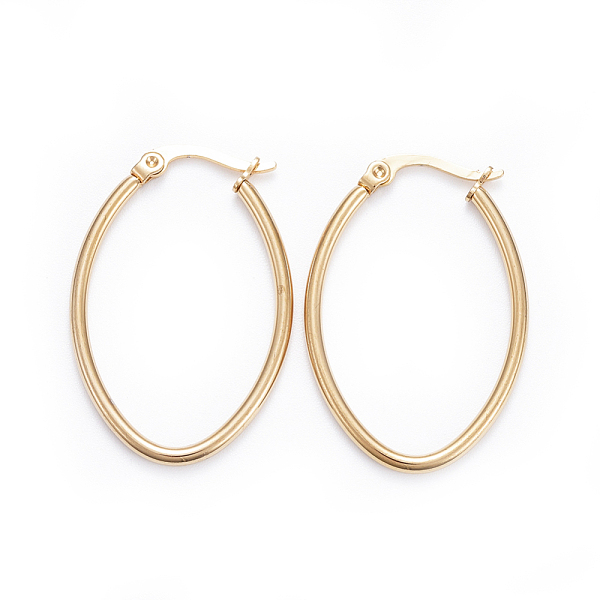 PandaHall Simple Fashion 304 Stainless Steel Hoop Earring, Geometrical, Oval, Golden, 34x23x2mm; Pin: 0.6x1mm Stainless Steel
