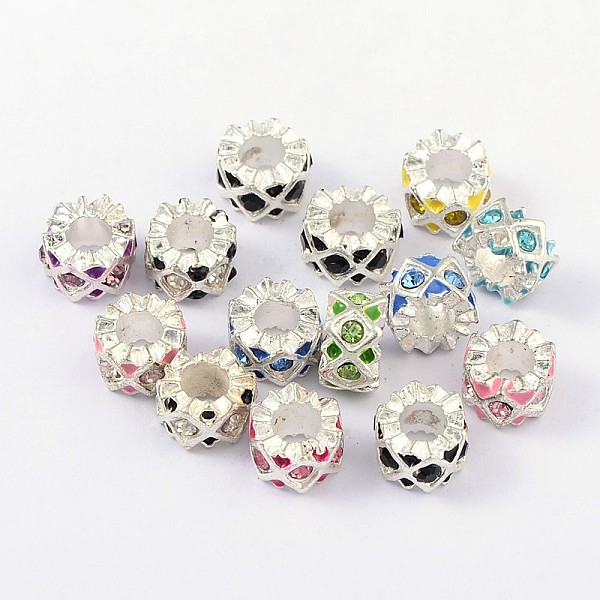 PandaHall Alloy Enamel European Beads, with Grade A Rhinestone, Large Hole Beads, Column, Silver, Mixed Color, 11x6mm, Hole: 5mm