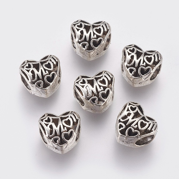 PandaHall Mother's Day Theme, Alloy European Style Beads, Large Hole Beads, Hollow Heart with Word Mom, Antique Silver, 10x10x8mm, Hole...