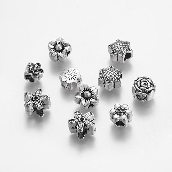 PandaHall Tibetan Style Alloy European Beads, Large Hole Beads, Mixed Flower, Antique Silver, 10~13x10~12.5x8~10mm, Hole: 4~5.5m