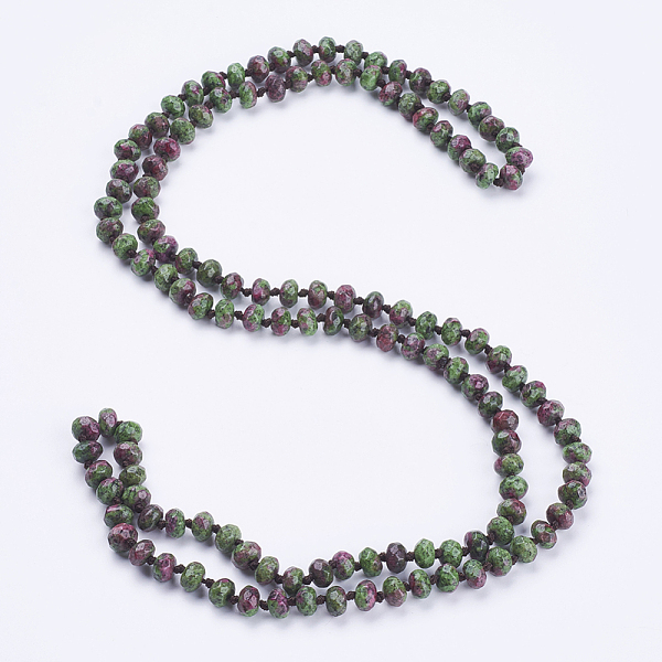 "PandaHall_Natural_Ruby_in_Zoisite_Beaded_Multi-use_Necklaces_Wrap_Bracelets,_Three-Four_Loops_Bracelets,_Faceted,_Abacus,_37.4""(95cm)_Ruby..."