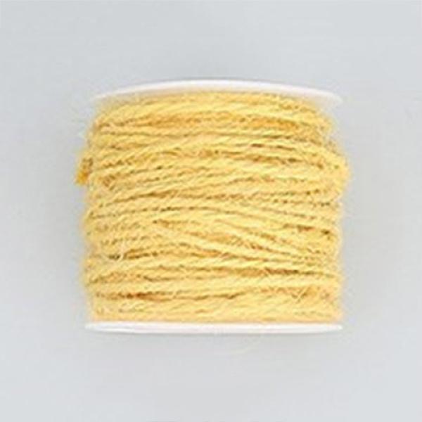 PandaHall Hemp Cord, Hemp String, Hemp Twine, for Jewelry Making, LightYellow, 2mm; 50m/roll Burlap Yellow