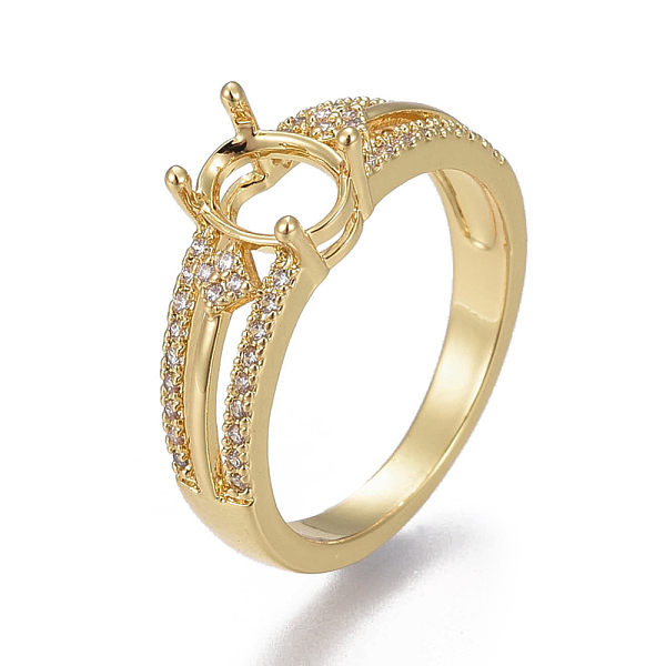 PandaHall Environmental Brass Finger Ring Components, Claw Pad Ring Settings, with Cubic Zirconia, Lead Free & Cadmium Free & Nickel Free...
