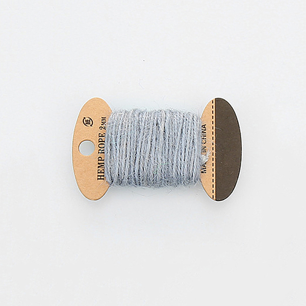 PandaHall Hemp Cord, Hemp String, Hemp Twine, 3 Ply, for Jewelry Making, LightGrey, 2mm; 10m/board Jute Gray