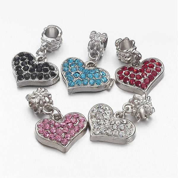 PandaHall Unique Valentines Day Ideas European Dangle Beads, with Alloy Rhinestone Findings, Grade A, Heart, Platinum Metal Colo