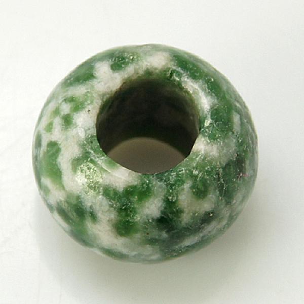 PandaHall Gemstone European Beads, Green Spot Jasper, Large Hole Beads, No Metal Core, Rondelle, Green, 12x8mm, Hole: 5mm Green