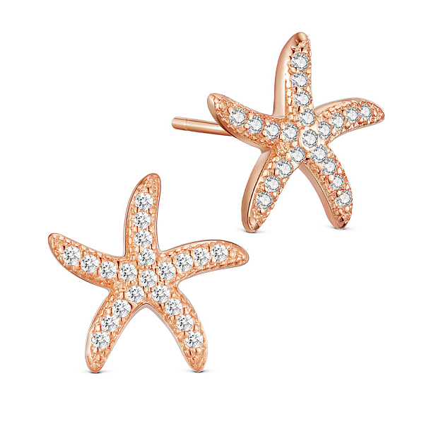 PandaHall SHEGRACE® 925 Sterling Silver Stud Earrings, with Micro Pave AAA Cubic Zirconia Starfish, 18K Rose Gold Plated, Rose Gold...