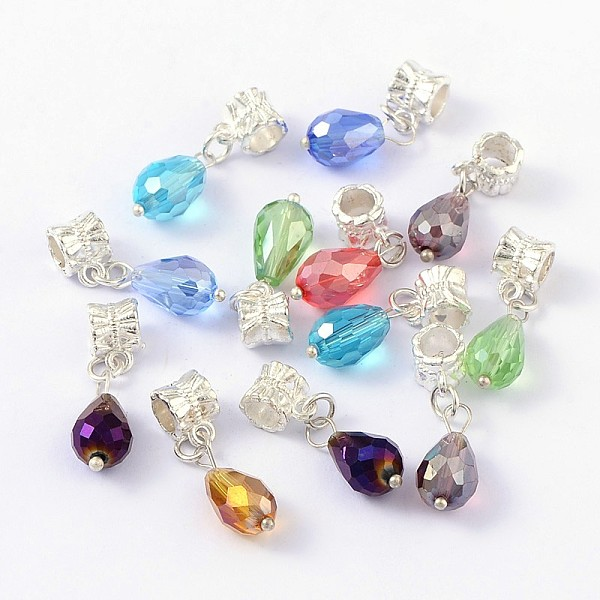 PandaHall European Dangle Beads, with Alloy, Brass and Glass Findings, Drop, Silver Metal Color, Mixed Color, Size: about 8mm wi