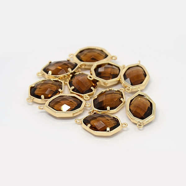 PandaHall Real Gold Plated Brass Glass Links, Faceted Polygon, Sienna, 23x13x6mm, Hole: 1mm Glass Polygon Brown