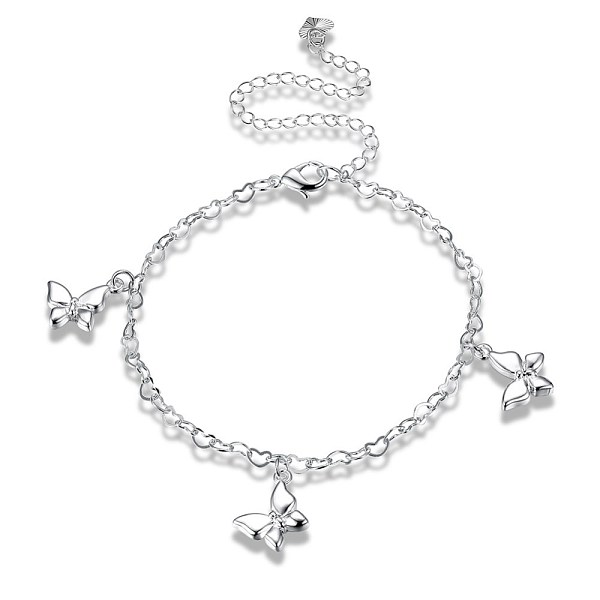 PandaHall Trendy Brass Charm Anklets, Heart Link Chain with Butterfly, Silver, 7-7/8 inches(200mm) Brass