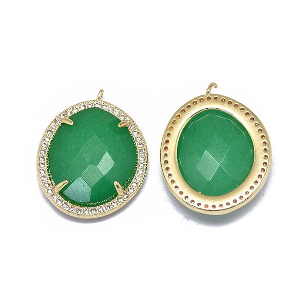 PandaHall Natural Jade Pendants, with Brass Findings and Cubic Zirconia, Oval, Faceted, Dyed, Golden, Green, 22x17x5.5mm, Hole: 1~1.2mm Jade...