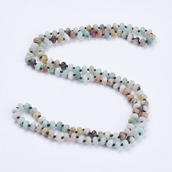 "PandaHall_Natural_Amazonite_Beaded_Multi-use_Necklaces_Wrap_Bracelets,_Three-Four_Loops_Bracelets,_Faceted,_Abacus,_37.4""(95cm)_Amazonite"