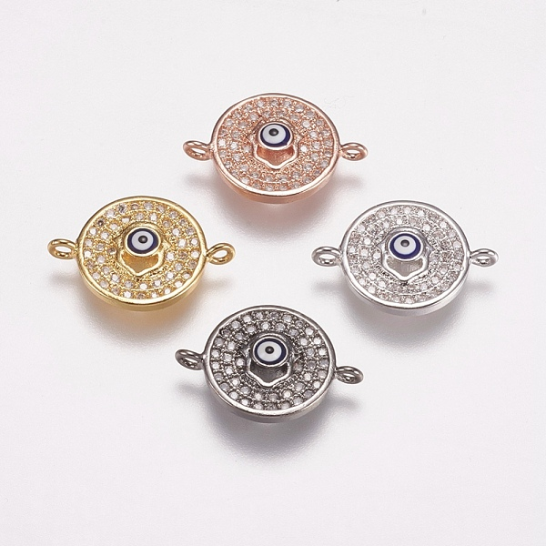 PandaHall Brass Micro Pave Cubic Zirconia Links, Clear, Flat Round with Evil Eye, Mixed Color, 12.5x18x2.5mm, Hole: 1mm Brass+Cubic Zirconia...