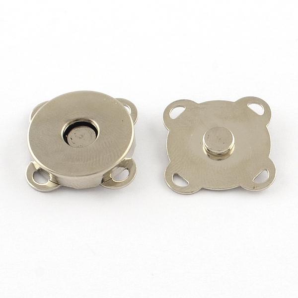 PandaHall Iron Purse Snap Clasps, Closure for Purse Handbag, platinum, 19x19x7mm, Hole: 1.5x2mm Iron (IFIN-R203-68P) photo