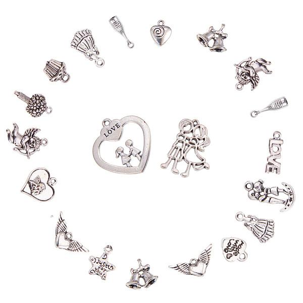 PandaHall Wedding Theme Tibetan Style Alloy Pendants, Antique Silver, 7.4x7.3x2.5cm, 6pcs/kind, 90pcs/box Alloy Mixed Shapes