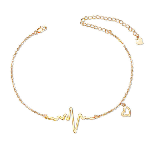 PandaHall SHEGRACE 925 Sterling Silver Link Anklets, with Cable Chains, Heartbeat and Heart, Real 18K Gold Plated, 8-1/4inches(21cm)...