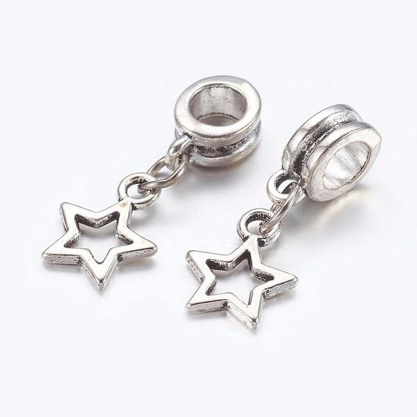 PandaHall Alloy European Dangle Beads, Star, Antique Silver, 23mm, Hole: 5mm Alloy Star