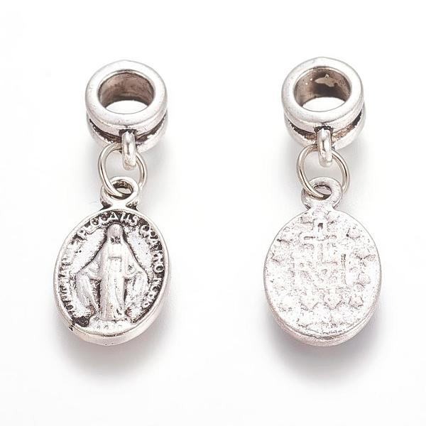 PandaHall Alloy European Dangle Beads, Oval, Antique Silver, 29mm, Hole: 5mm Alloy Oval