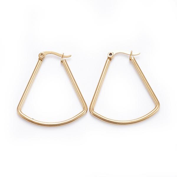 PandaHall Simple Fashion 304 Stainless Steel Hoop Earrings, Geometrical, Fan Shape, Golden, 33.5x30.5x2mm; Pin: 0.6x1mm Stainless Steel